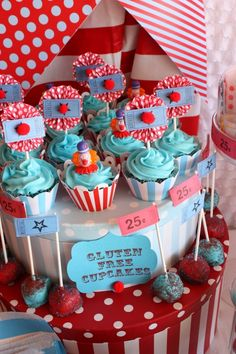 Carnival Party Cupcakes #party #carnival