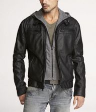 Leather Perforated Jacket, Grey Hoodie,  Grey Washed Out Jeans,