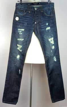 100% Authentic PHILIPP PLEIN Jeans Pants with Leather Skull Low-rise NEW Size 32 #PhilippPlein #Jeans