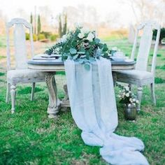 A romantic, dusty blue wedding inspiration shoot with blue bridesmaids dresses and dusty blue wedding cakes. Blue Bridesmaids, Blue Bridesmaid Dresses, Rose Quartz Serenity, Dusty Blue Weddings, Wedding Table Decorations, Blue Roses, Color Of The Year, Wedding Colors, Wedding Blue