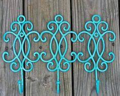 Metal Wall Hook /Turquoise /Bright Shabby Chic Decor /Ornate Hanger /Key Holder /Bathroom Fixture /Bedroom /Laundry /Nursery