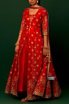 Red Kalira Embroidery Jacket with Pants Pakistani Formal Dresses, Pakistani Dress Design, Indian Dresses, Indian Outfits, Red Lehenga, Anarkali Dress, Lehenga Choli, Bridal Lehenga, Sari