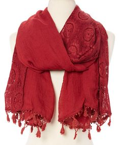1299 This Burgundy Lace Linen-Blend Scarf is perfect! #zulilyfinds