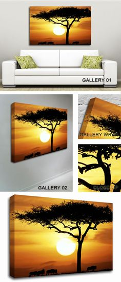 Handmade Oil Painting Reproductions of African Safari Tree in Sunlight Modern Art-Abstract Art, Oil Painting by Modern Art Abstract Art Contemporary Art