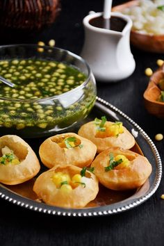 Pani Puri/Phuchka/phulki/Golgappa popular street food chaat across India. Pani Puri filling made by lightly mashing potatoes with black salt, salt, spices. Indian Snacks, Indian Food Recipes, Vegetarian Recipes, Cooking Recipes, Comida India, Puri Recipes, Chaat Recipe, Pani Puri Recipe, Indian Street Food