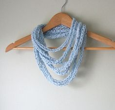 Blue Infinity Scarf Necklace Handmade with Eco Friendly Hemp Cotton Blend / Eternity Loop Circle Scarf on Etsy, $26.00