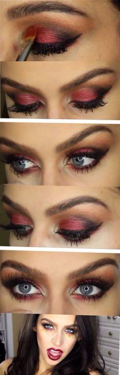 Carli Bybel Sexy Vampire Makeup Tutorial - PRODUCTS USED: Take Me To Brazil BH Palette BH Gel Liner Jordana Cabernet Liner MAC Darkside