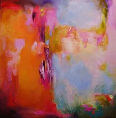 Abstract painting, orange, original oil on canvas, Sunken Pleasure (iii) 16 x 16 inches