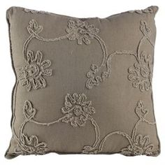 "Bring a garden-chic pop of style to your sofa or favorite reading nook with this charming pillow, featuring a textural floral motif and piped edges.  Product: PillowConstruction Material: Polyester cover and polyester fillColor: Gray Features: Textural floral motifPiped edgesInsert includedDimensions: 17.5"" x 17.5"""