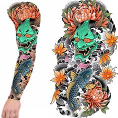 Full sleeve up for grabs! Japanese Hand Tattoos, Japanese Mask Tattoo, Japanese Dragon Tattoos, Traditional Japanese Tattoos, Japanese Tattoo Designs, Japanese Style, Dragon Sleeve Tattoos, Full Sleeve Tattoos, Sleeve Tattoos For Women