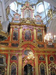 St Andrew's Church, Kiev - The baroque three-tier iconostasis designed by Rastrelli. The woodwork was done by carvers Joseph Domash, Andrey Karlovsky and Matvey Manturov.