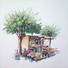 A flower shop Botanical Illustration, Watercolor Illustration, Watercolor Paintings, Pencil Illustration, Art Sketches, Art Drawings, Building Painting, Korean Art, Landscape Drawings