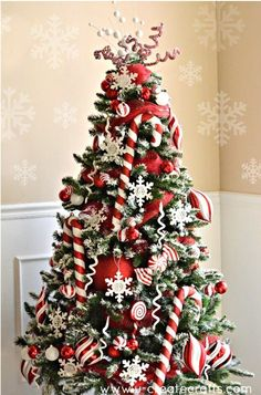 candy cane Christmas tree decortions, red and white Christmas tree decorations