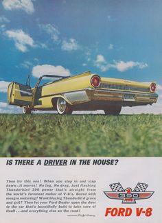 1961 Ford V-8 Thunderbird 390 Classic Car Ad Yellow Convertible Photo Vintage Automobile Advertising Print Wall Art Decor
