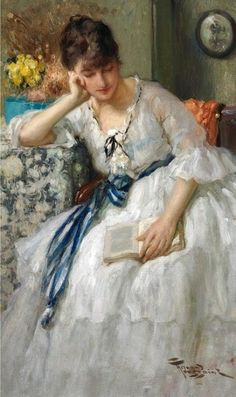 Girls in white dresses with blue satin sashes...( A Quiet Moment - Fernand Toussaint)