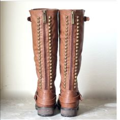 """⭐SIZE 8.5⭐️NIB Studded Riding Boots NIB Tan Studded Riding Boots. Awesome studded detail along back panel, rounded toe, buckle strap design at the ankle, stitching accents, and low heel. Synthetic leather, cushioned footbed with padded insole. Measurements (based on size 6): heel 1 1/4"""", Shaft 16.25"""" (w/heel), Opening Circumference 14"""" 🚫No Trades and No Paypal🚫 Shoes"""