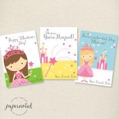 Girls Princess Valentine Cards //  Custom Valentine Cards //  by papernoted, $6.00