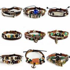 Mens Womens Vintage Leather Surf Surfer Bracelet Wristband Choose Your Style | eBay