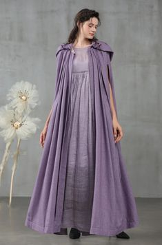 EmmaJean would love this. maxi hooded cape, wool cape in violet Hooded Wool Coat, Hooded Cloak, Hooded Capes, Lilac Dress, Dress Up, Pretty Outfits, Cool Outfits, Cashmere Fabric, Wool Cape