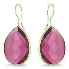 22k Goldplated Double Checkerboard Pear-cut Gemstone Earrings