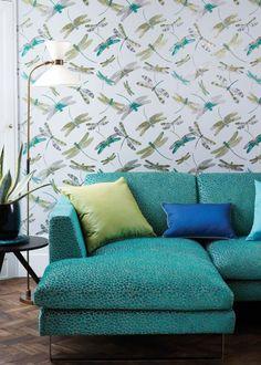 Lime & Grey Dragonfly Dance Wallpaper - For The Interiors Aficionado - Matthew Williamson