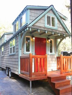"""I'm so excited to share this 8'6"""" x 20' craftsman style bungalow tiny house on wheels by Molecule Tiny Homes. Anytime they build something new for their clients I'm thrilled because they always see..."""