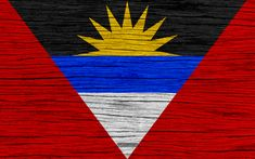 Download wallpapers Flag of Antigua and Barbuda, 4k, North America, wooden texture, Antiguan flag, national symbols, Antigua and Barbuda flag, art, Antigua and Barbuda