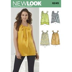 Description: Misses' Loose-Fitting Top Misses' loose and flowy top with gathered neckline and bow that ties at the shoulder. Make this top with a straight,curved or double layered hem and add trim for extra femininity. New Look sewing pattern. New Look Patterns, Simplicity Sewing Patterns, Mccalls Patterns, Loose Fitting Tops, Flowy Tops, Nouveau Look, Vogue, Dress Making Patterns, Fabric Shop