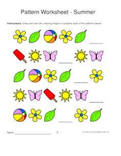 summer pattern worksheets for kids 1 2 3 pattern draw and color - Color Pattern Worksheets