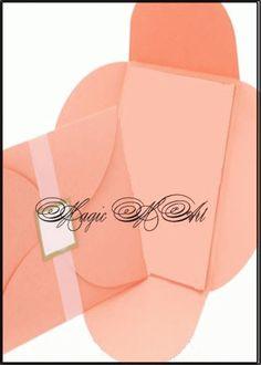 Сватбена покана-плик в прасковено 3010