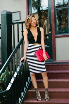 Nasty Gal Deep V Crop Top Satori Striped Skirt H&M Red Satchel Bag Shoe Dazzle GX by Gwen Stefani Lace Up Heels  Chanel, 19, Seattle  www.seattlefashionblogger.com IG: @seattlefashionbogger