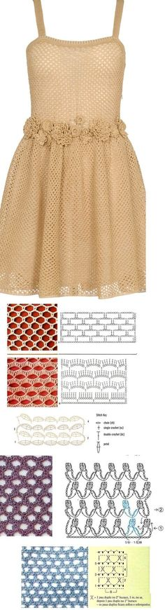 Valentino crochet dress - here are some possible mesh stitches to make it... <3