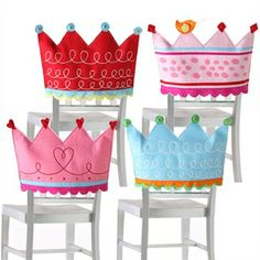 Crown Chair Backer Set perfect decoration for a princess party shelley b home and holiday Princess Chair, Princess Party, Diy For Kids, Crafts For Kids, Birthday Chair, Felt Crafts, Diy Crafts, Royal Chair, Chair Back Covers