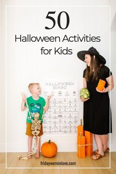 Fun Kid's Halloween Activities! A roundup of 50 fun Halloween activities for kids with a free printable download to help you celebrate with lots of Halloween fun!  #fridaywereinlove