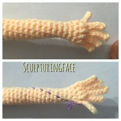 """These are the smallest fingers I can crochet... Or you prefer to have """"mitten-shape"""" hand with only thumb?  #amigurumi #crochet #pattern by #Sculpturingface"""