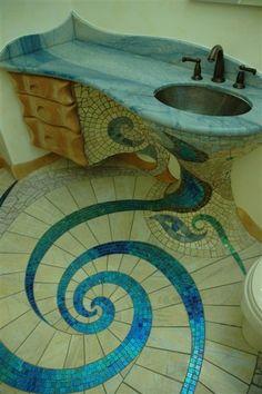 mosaic yioryia  mosaic  mosaic beautiful-bathroom Mosaic Bathroom, Glass Mosaic Tiles, Bathroom Flooring, Mosaic Art, Mermaid Bathroom, Mosaic Floors, Flooring Tiles, Peacock Bathroom, Bathroom Stuff