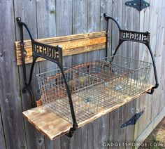 Custom, Repurposed Singer Sewing Machine Wood Shelf with Vintage Yardstick by GadgetSponge.com - Repurposing, Upcycling, Birds & Nature