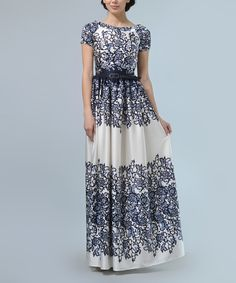 Take a look at this Blue & White Floral Silk-Blend Maxi Dress & Belt today!
