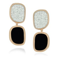 Roberto Coin Black Jade 18kt Rose Gold Diamond Earrings ($6,900) ❤ liked on Polyvore featuring jewelry, earrings, accessories, joias, diamond jewelry, diamond stud earrings, dangle earrings, diamond earrings and rose gold dangle earrings