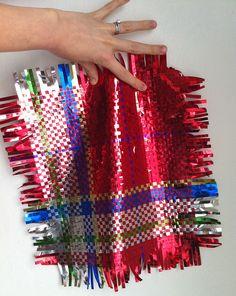patchwork plaid foil weaving, by christine tillman. This isn't plastic but wow foil? cool ~!~
