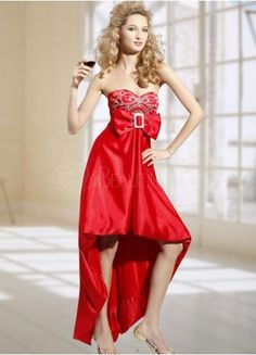 Red Sweetheart Beading Bow Taffeta Asymmetrical Hemline Evening Gown  #dress