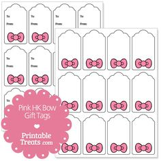 Free Pink Hello Kitty Bow Gift Tags from PrintableTreats.com