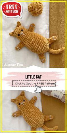 Crochet Cat Toys, Crochet Cat Pattern, Crochet Patterns Amigurumi, Crochet For Kids, Free Crochet, Free Pattern, Crochet Hair Accessories, Beginner Crochet Projects, Yarn Crafts