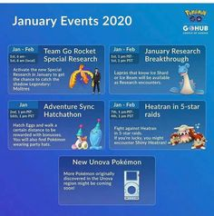 Be ready for jan-feb Lapras research Breakthrough event and for new Pokemon from unova region Pokemon Go Chart, Pokemon Guide, New Pokemon, Cute Pokemon, Go Game, Team Rocket, January, Events, Games