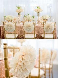 whimsical chair poof decoration #weddingdecor #weddingreception #weddingchicks http://www.weddingchicks.com/2014/02/19/glamorous-rose-gold-wedding/
