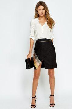 NEW Summer Arrivals: Suedette Contrast Wrap Skirt - 3 Colours   #Summer #Fashion #Skirt