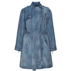 Jean Marc Philippe Blue Plus Size Denim trench coat (£91) ❤ liked on Polyvore featuring outerwear, coats, jackets, blue, plus size, long denim coat, leather-sleeve coats, plus size coats, zip coat and denim trench coat