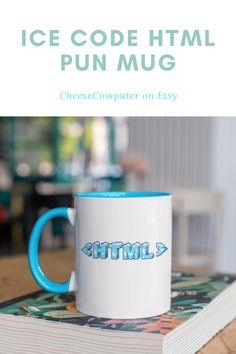 """Add a pun to your morning routine with this fun Ice Code (Cold) HTML 11oz coffee mug or give it to a computer wiz as a gift!  Choose your color and add to cart to place your order.  • Ceramic • Height: 3.85"""" (9.8 cm) • Diameter: 3.35"""" (8.5 cm) • Blue, Black, Red, or Yellow color rim, inside, and handle • Dishwasher and microwave safe #mug #mugs #punmug #etsymug #ice #code Gifts For Programmers, Diy Christmas Gifts For Kids, Cheap Diy Home Decor, Diy Shadow Box, Awesome Gifts, Crafts To Make And Sell, Mother's Day Diy, Personalized Mugs, Summer Diy"""