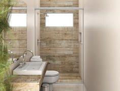 Acabamento banheiro pequeno com madeira.