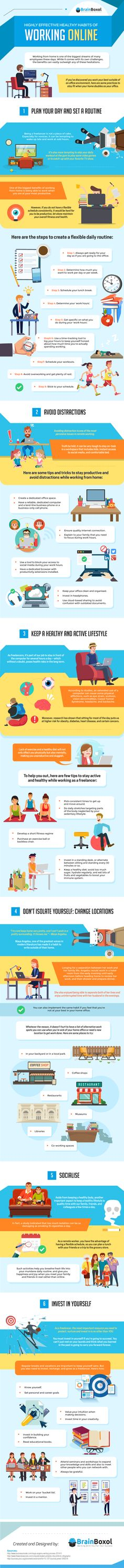 Highly Effective Healthy Habits of Working Online - #Infographic